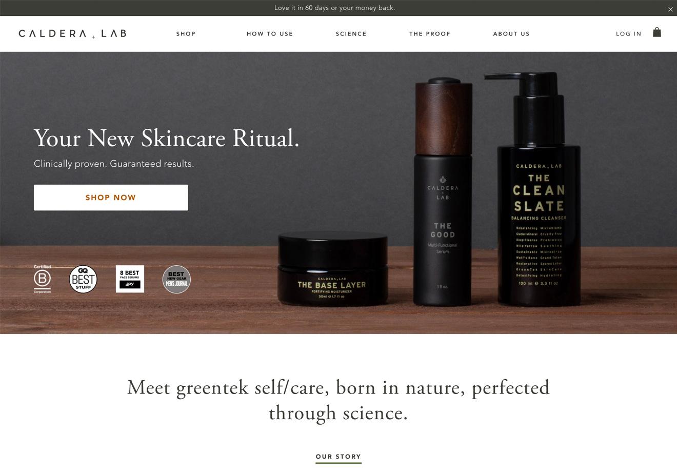 Caldera + Lab homepage