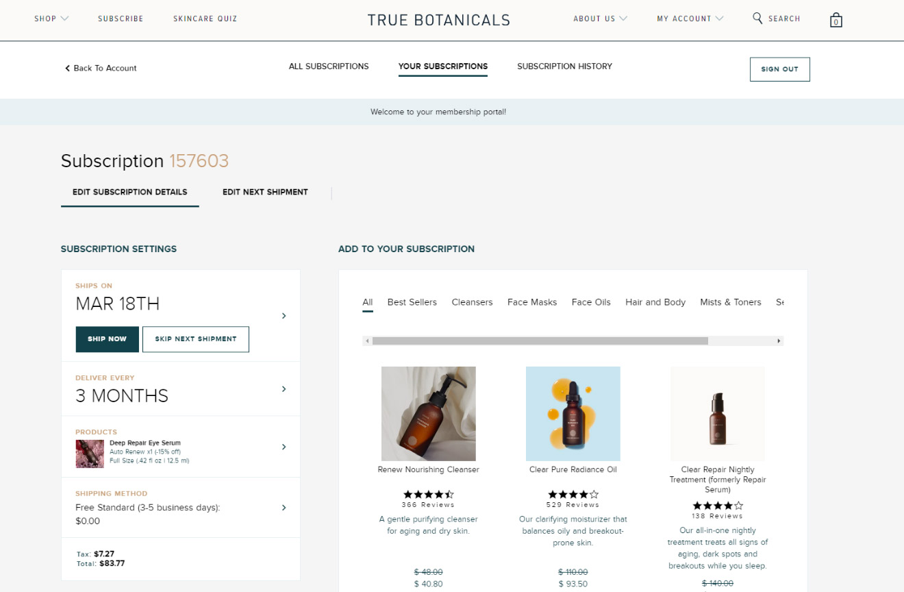 True Botanicals Subscriptions page