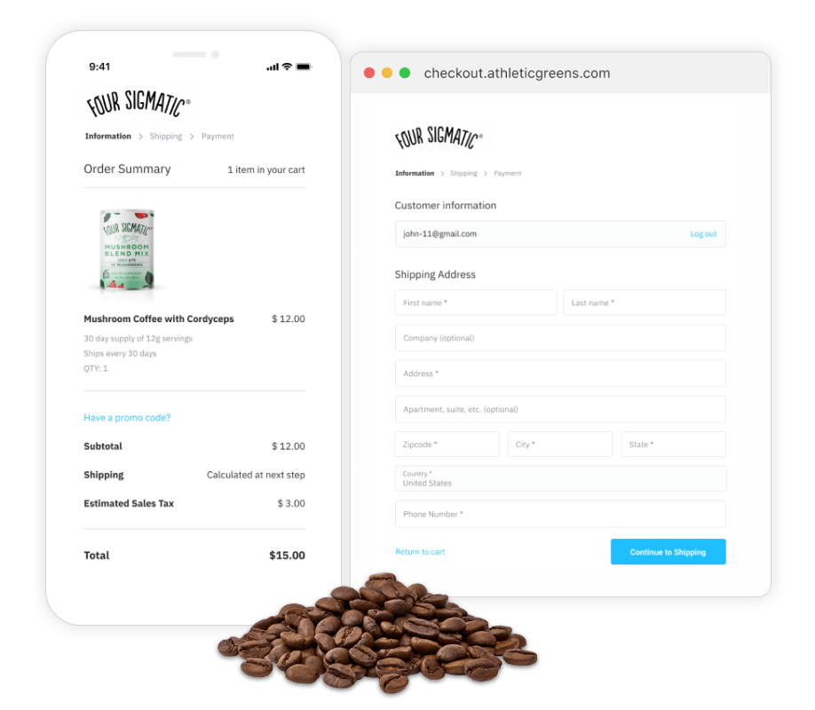 Four Sigmatic checkout screen